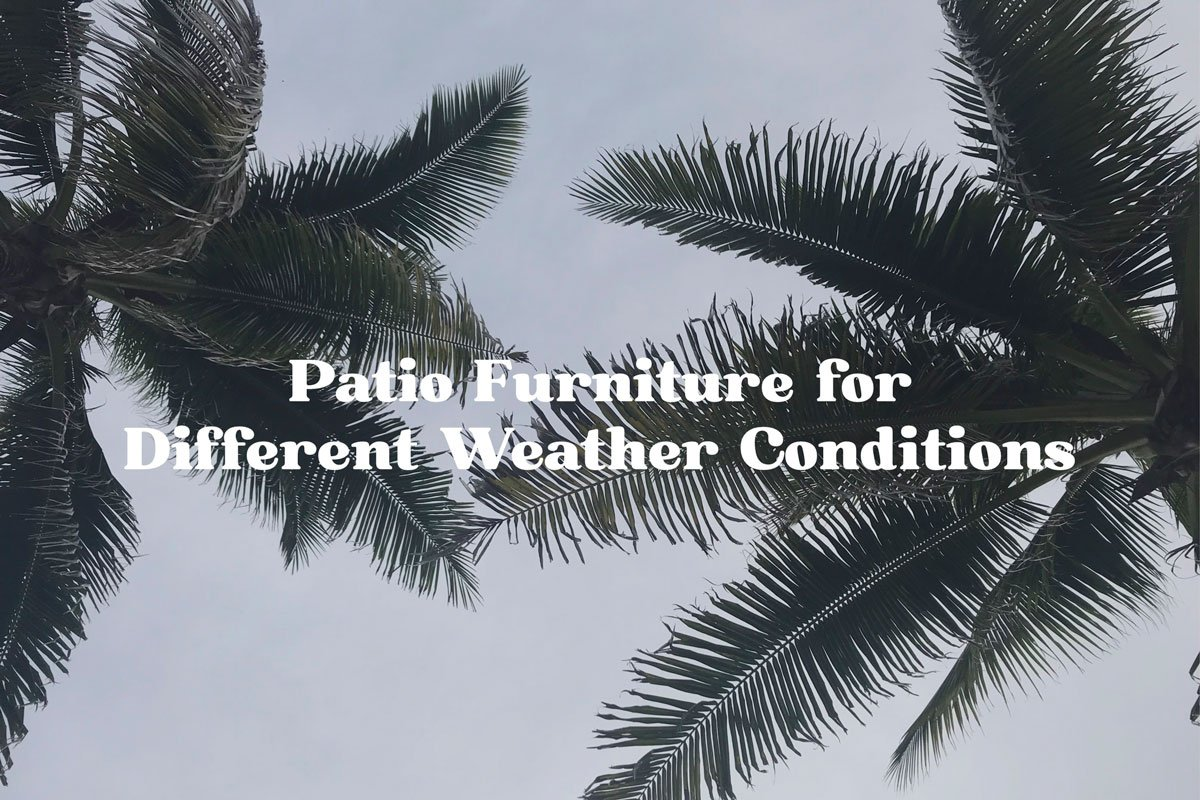 Patio Furniture For Different Weather Conditions: Palm Trees Against Cloudy Skies.